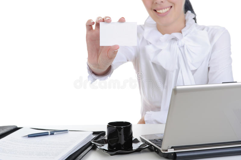 Download Businessman Handing A Blank Business Card Stock Photo - Image: 16057452