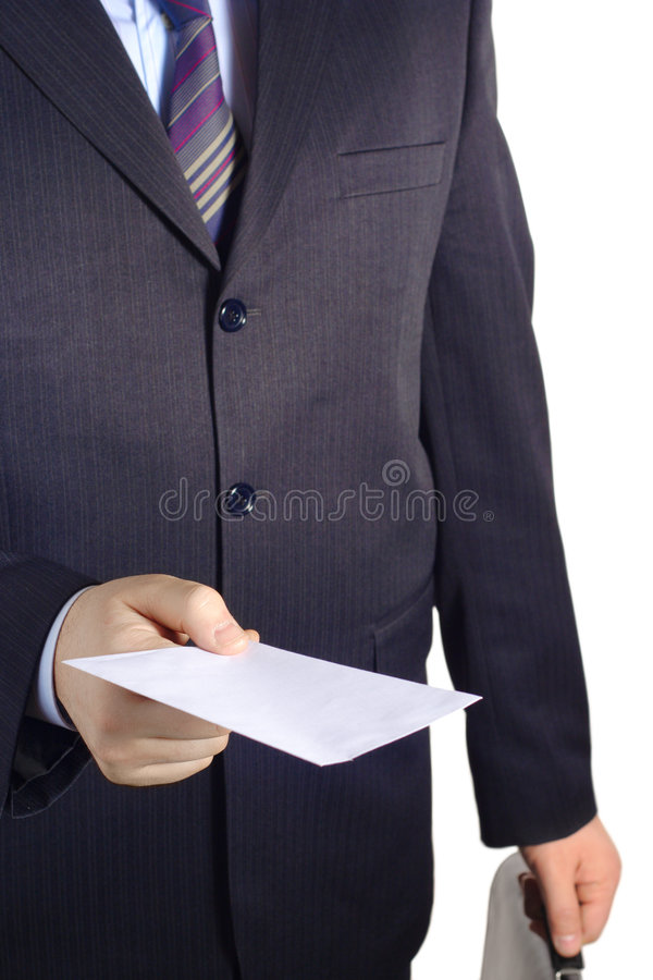 Businessman handing over a blank letter. Against white background royalty free stock photos