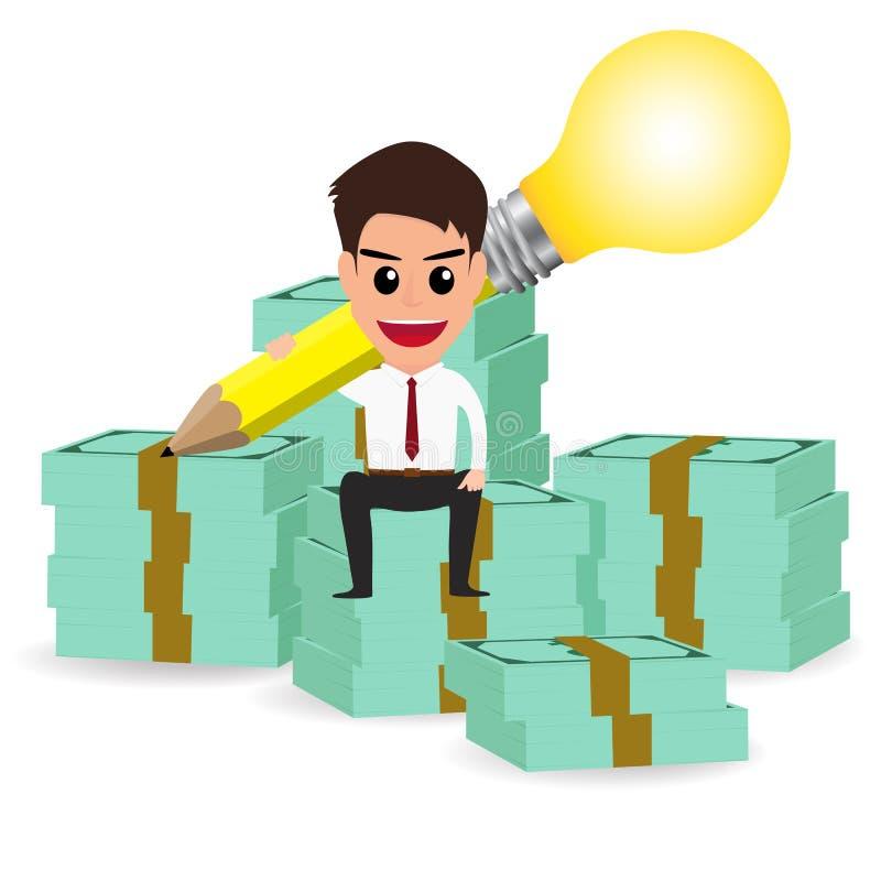 Businessman handle pencil lightbulb and sitting on money stacks. Vector Illustration stock illustration