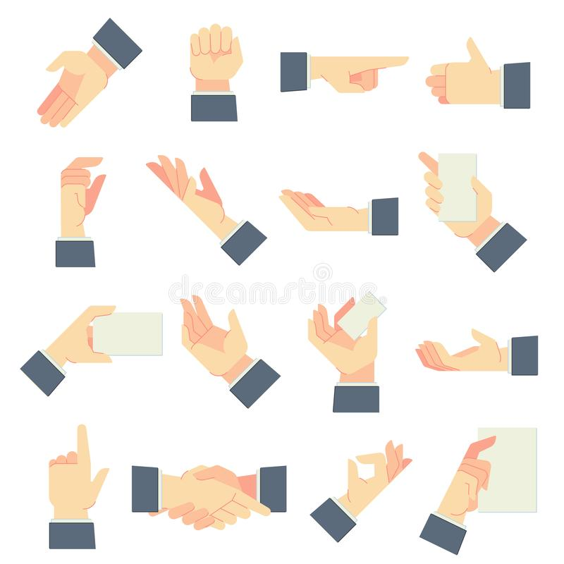Businessman hands gestures. Direction pointing hand, giving handful gesture and hold in male hands cartoon vector stock illustration