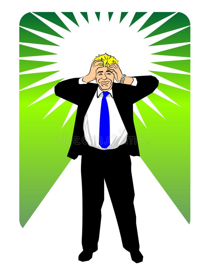 Businessman with hands on head