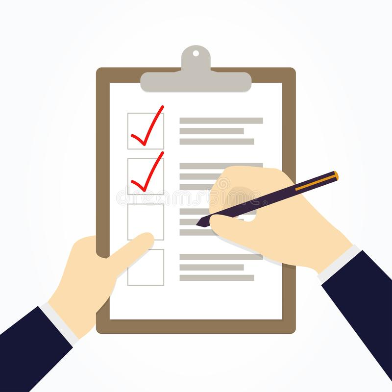 Businessman hands holding checklist and marker. Vector illustration royalty free illustration
