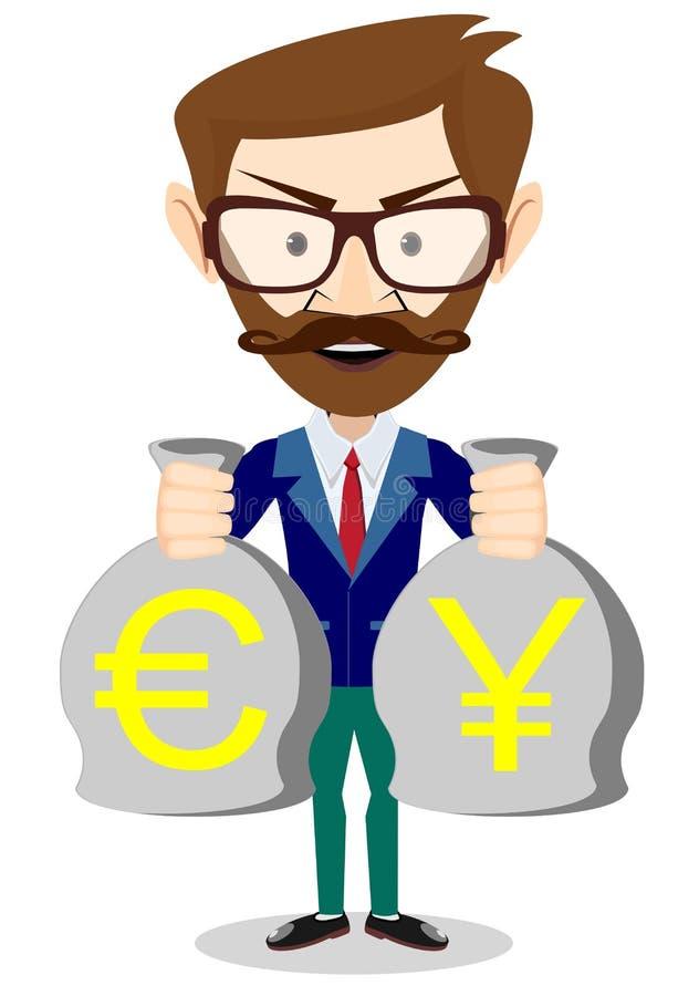 Businessman hands holding money bag stock illustration