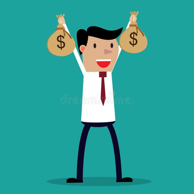 Businessman hands holding money bag royalty free illustration