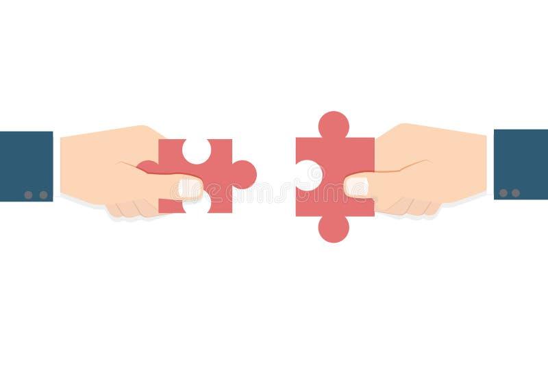 Businessman hands holding puzzle. Teamwork concept. Vector illustration royalty free illustration