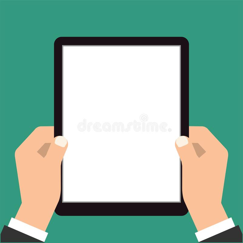 Businessman hands are holding the touch screen device. Vector illustration vector illustration