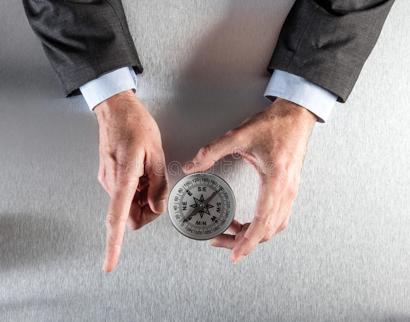 Businessman hands showing the corporate direction or way forward royalty free stock images
