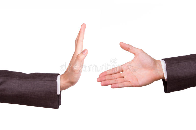 Businessman Hands with Stop Sign and Handshake stock images