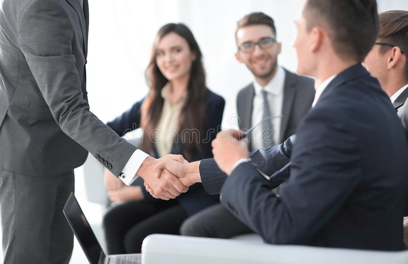 Businessman with hands together. business concept. royalty free stock photo