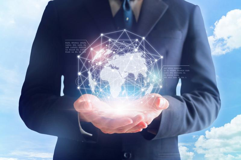 Businessman in hands touching digital global network. royalty free stock photos
