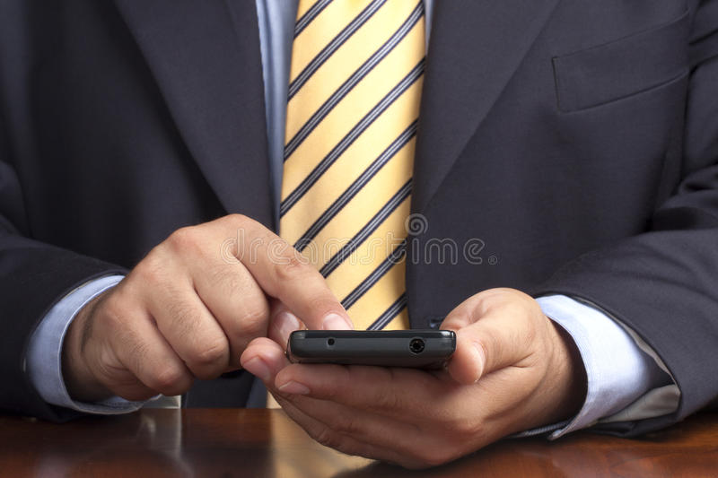 Businessman Hands Working Touch Smartphone stock image