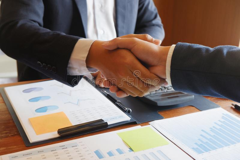 Businessman handshake  consulting  agree deal. Ing stock photos