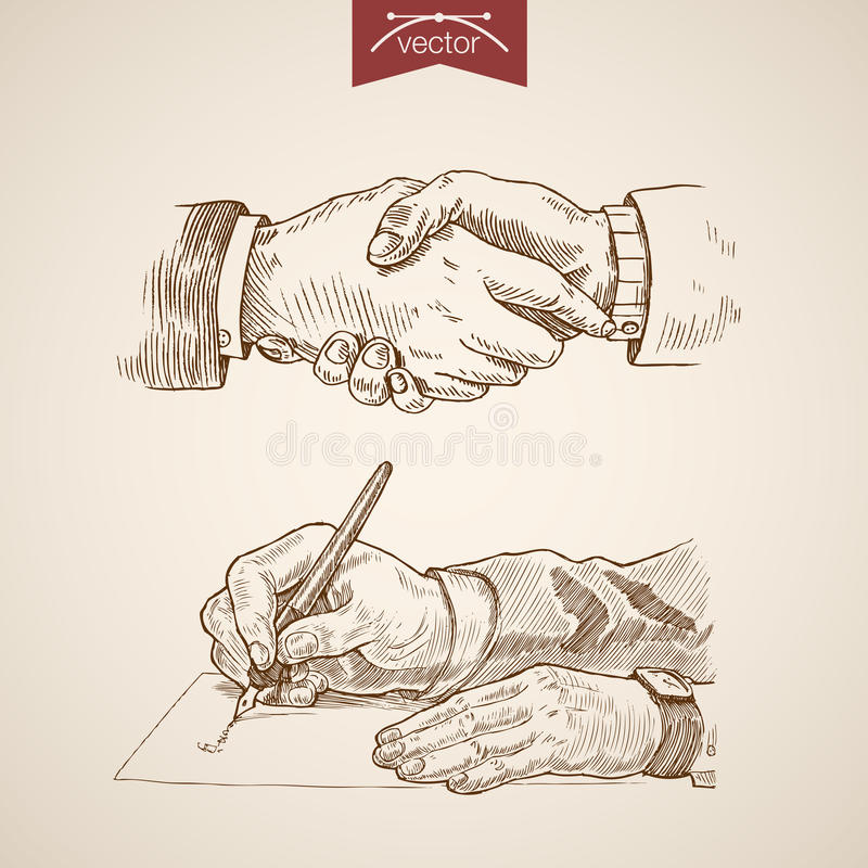 Businessman handshake contract deal engraving vintage royalty free illustration