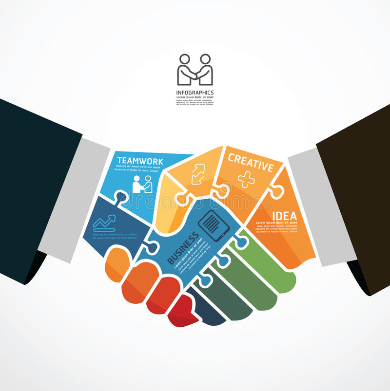 Businessman handshake jigsaw banner . Infographic Template with businessman handshake jigsaw banner . concept vector illustration