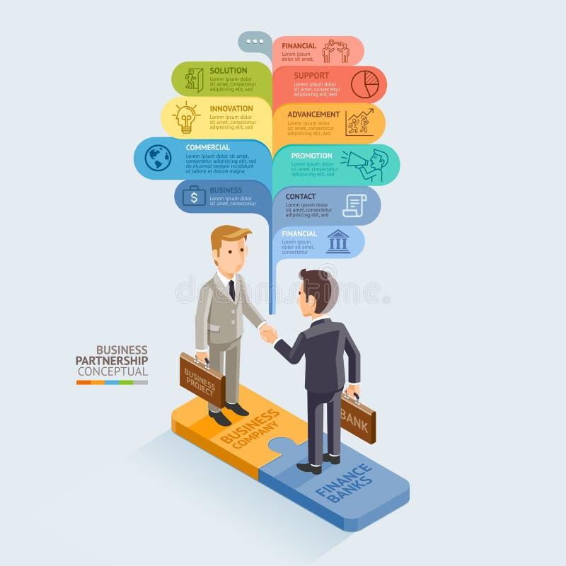 Businessman Handshake On Jigsaw Puzzle. royalty free illustration