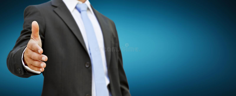 Businessman handshake. Businessman at the office giving hand shake stock illustration