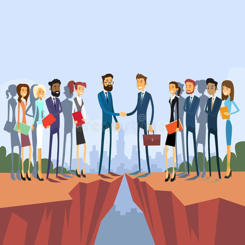 Businessman Handshake Over Cliff Gap Mountain. Businesspeople Group Team Management Concept Business People Hand Shake Flat Retro Vector Illustration royalty free illustration
