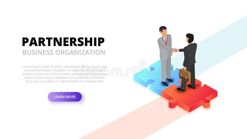 Businessman handshake on puzzle. Partnership concept. Isometric 3d vector illustration vector illustration