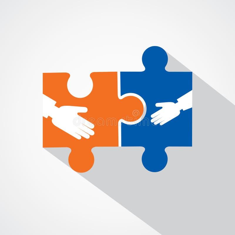 Businessman handshake with puzzle pieces vector illustration