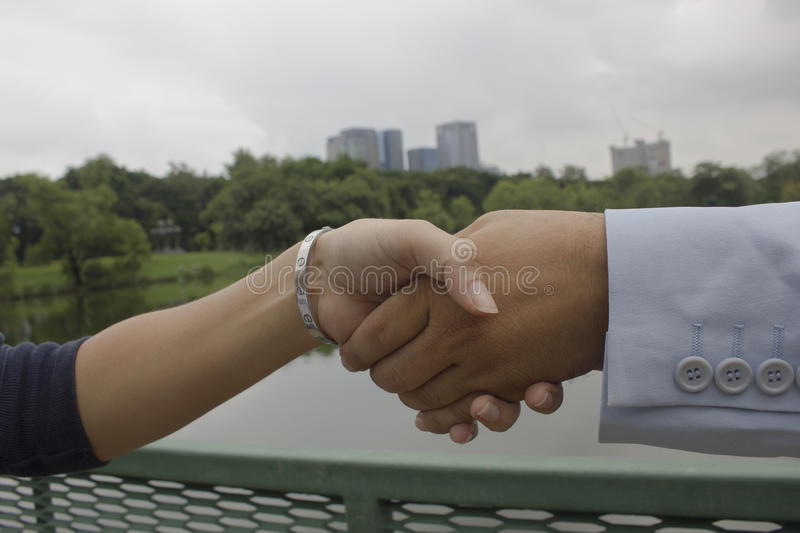Businessman handshake trade agreements. Hands clasped hands royalty free stock image