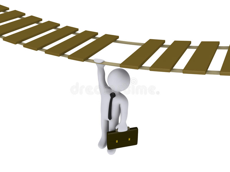 Download Businessman Hanging From A Suspended Bridge Stock Illustration - Image: 23644770