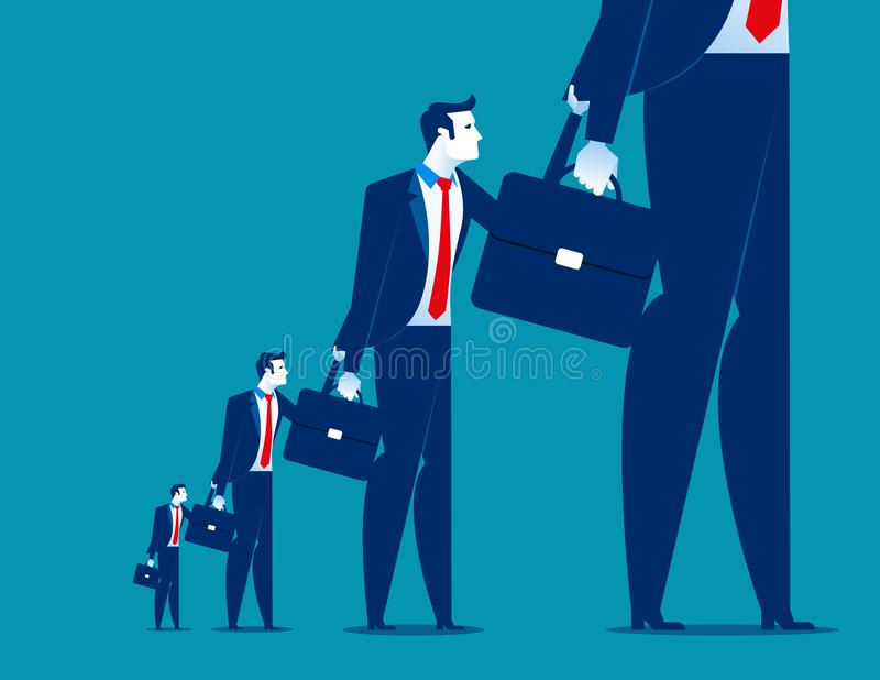 Businessman hanging on to another. Concept business vector. stock illustration