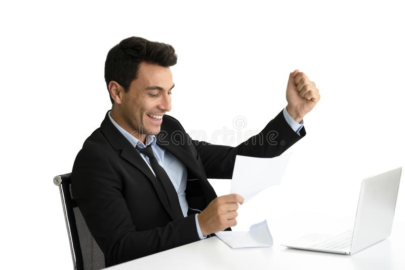 Businessman happy when look document paper in hand royalty free stock images