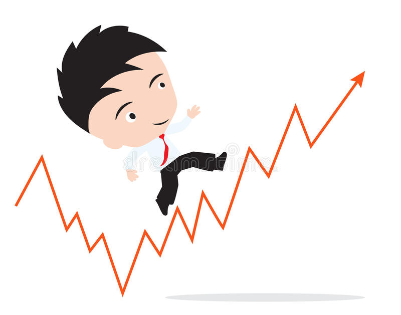 Businessman happy to walk and running up on the red arrow trend, road to success, presented in form stock illustration