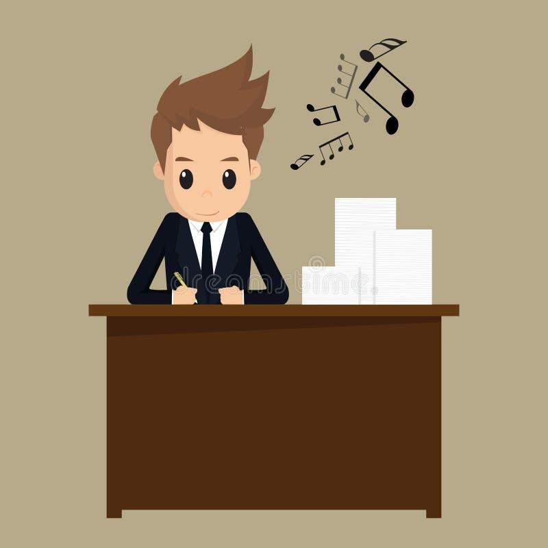 Businessman happy working vector illustration