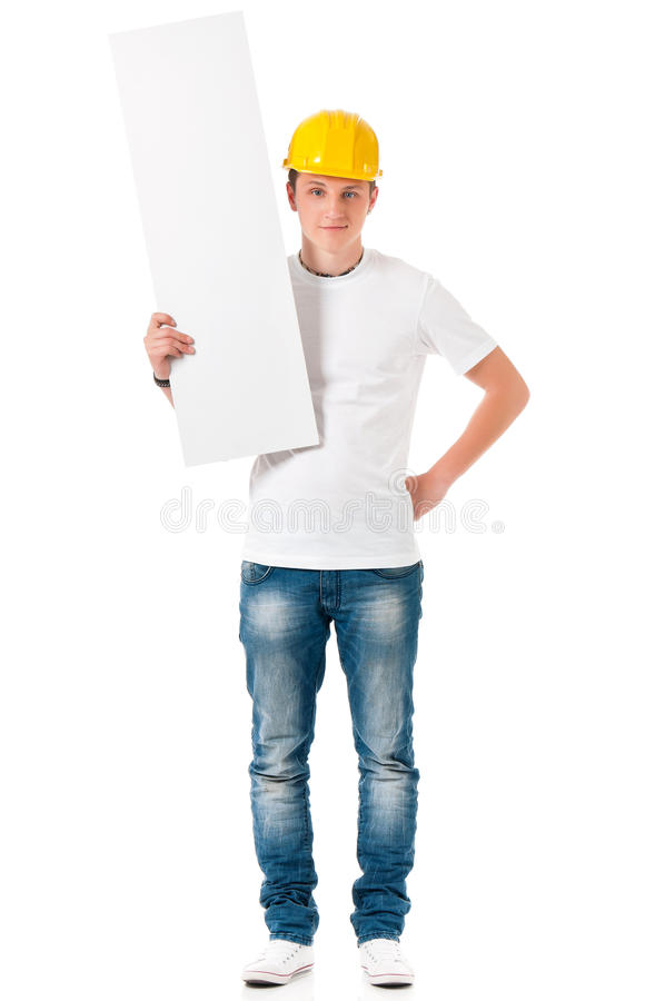 Businessman in hard hat with blank royalty free stock images