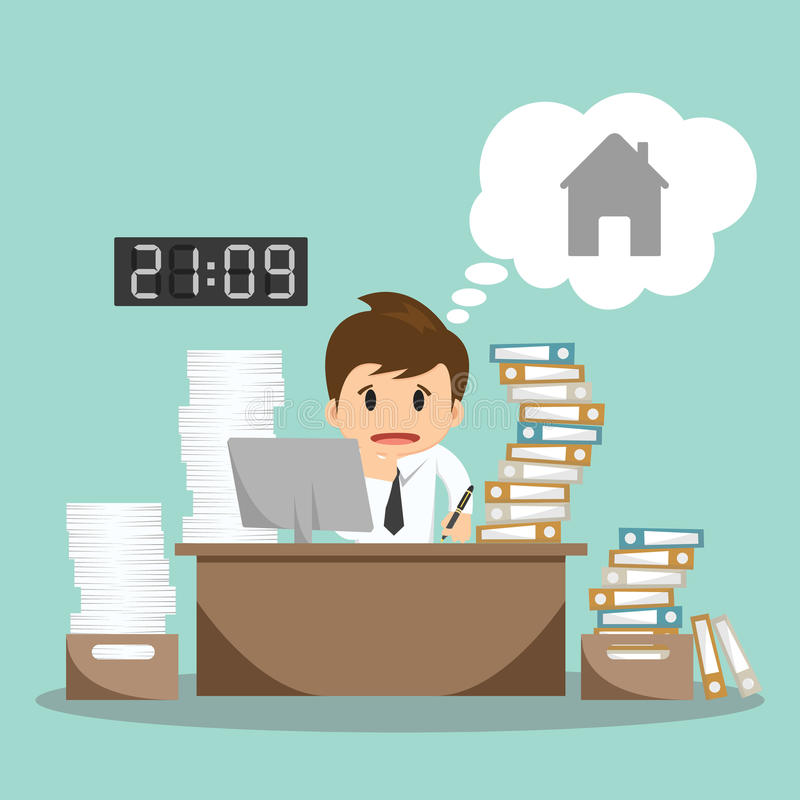 Businessman hard work on office vector illustration stock illustration