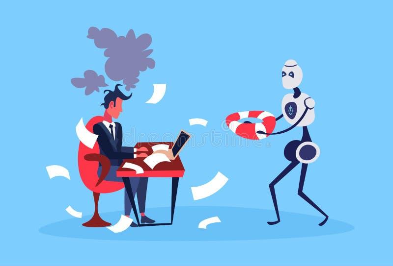 Businessman hard working process robot hold lifebuoy bot helper artificial intelligence concept blue background full vector illustration