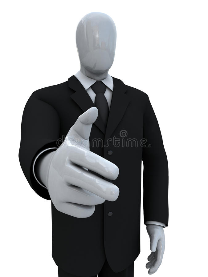 Businessman has combined a pistol from fingers royalty free stock photography