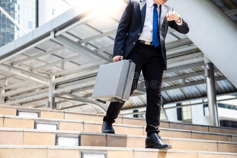 Businessman has important appointment business but a guy cannot royalty free stock image