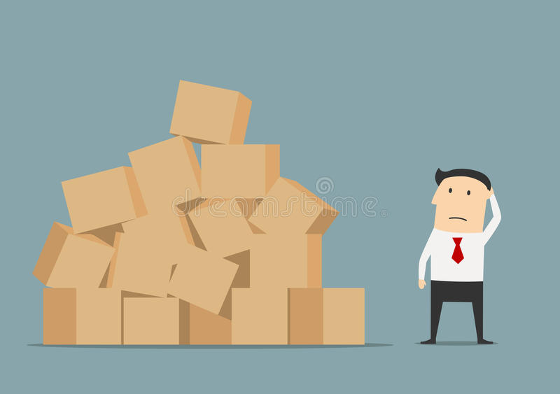 Download Businessman Has Problem With Delivery And Storage Stock Vector    Image: 64901395