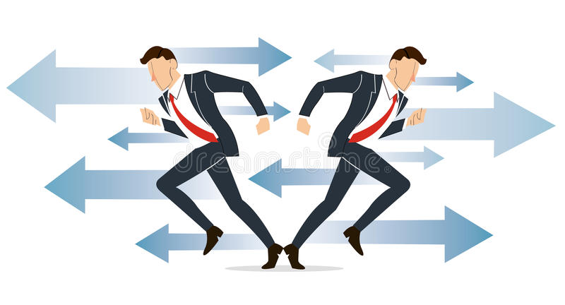 Businessman has to make decision which way to go for his success vector illustration royalty free illustration