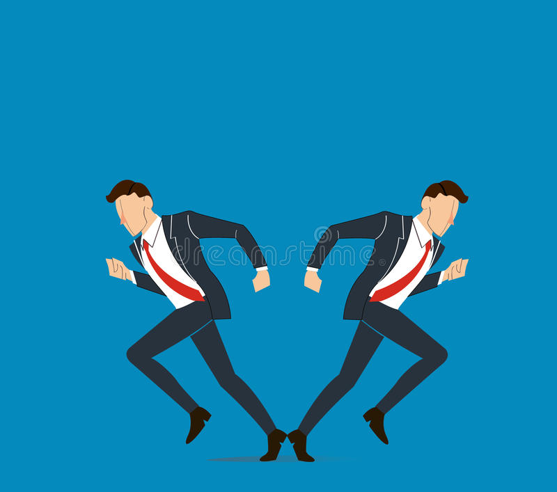 Businessman has to make decision which way to go for his success vector illustration stock illustration