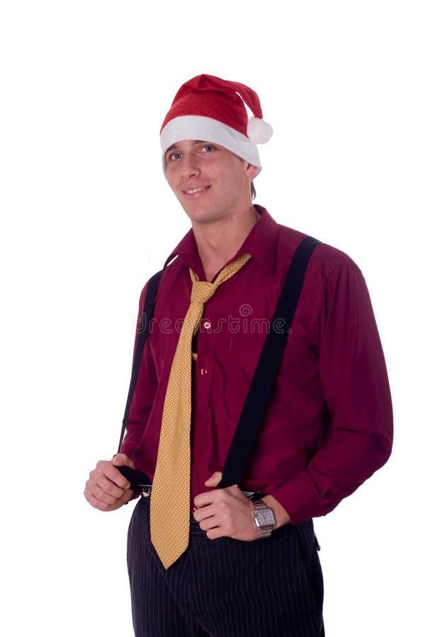 businessman hat santa wearing στοκ φωτογραφία