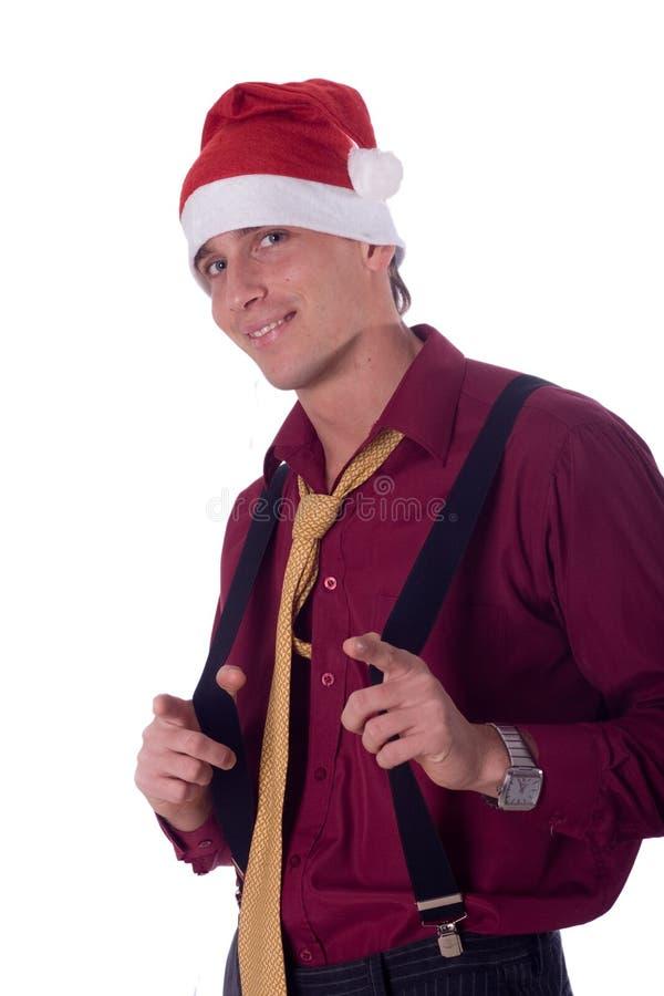 businessman hat santa wearing στοκ φωτογραφία με δικαίωμα ελεύθερης χρήσης