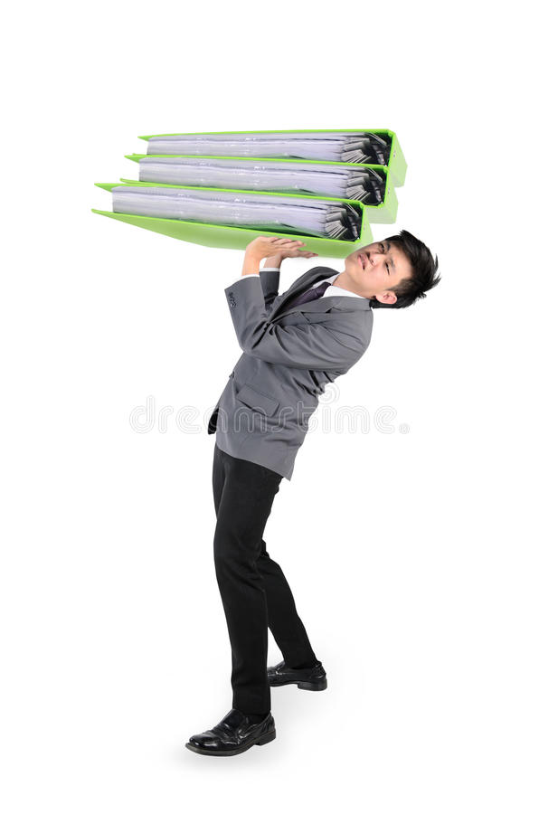Businessman have big folder document in hard working concept. Over white background royalty free stock images