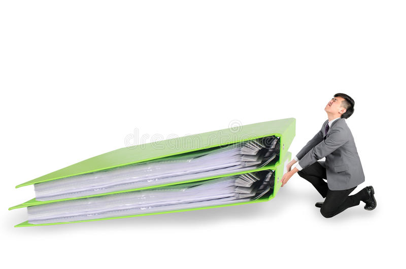 Businessman have big folder document in hard working concept. Over white background stock photography