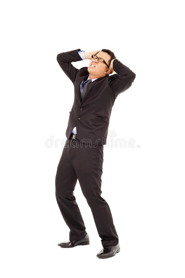 Businessman Have A  Headache And Bend Body Stock Photo