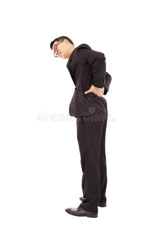 Businessman have waist pain. Isolated on white background royalty free stock photos