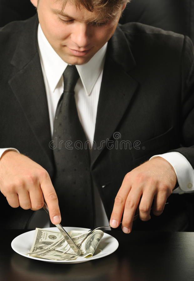 Download The Businessman Having Dinner Dollars Stock Image - Image: 10409761