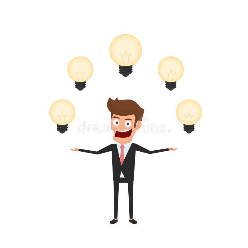 Businessman having a lot of idea. Light bulbs around man`s head concept of creative to success royalty free illustration