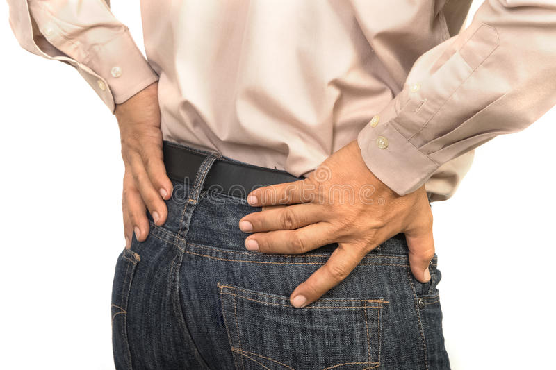Businessman having lower back pain, Office syndrome concept. Isolate stock photography