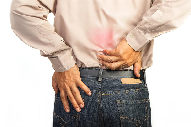 Businessman having lower back pain,Office syndrome concept. Isolate stock image