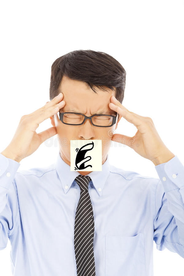 Businessman with headache and blame expression on sticker. In studio royalty free stock photo