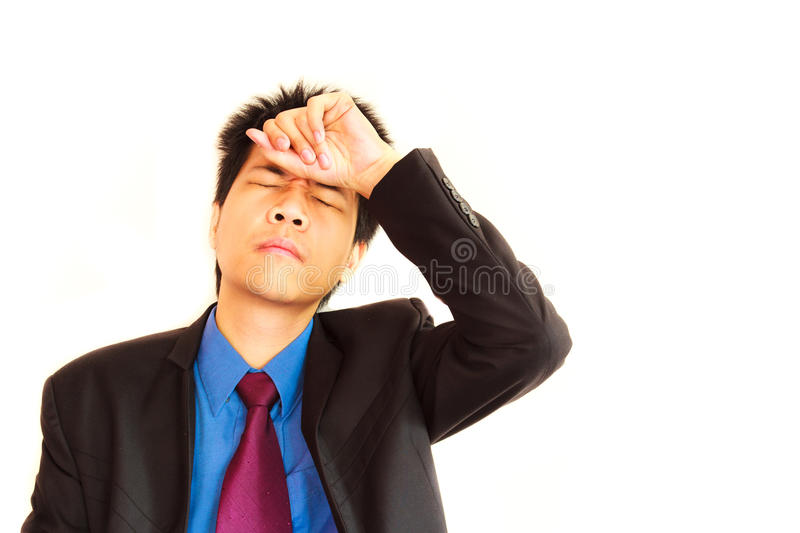Businessman with headache. In his life stock photos