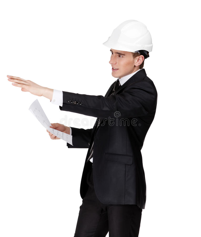 Download Businessman In Helmet Pointing At Something Stock Image - Image: 26880497